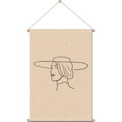 Textielposter Vrouw Line Art - 90 x 120 cm