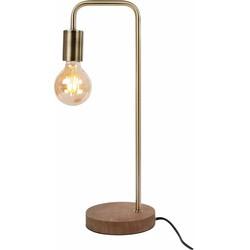 Tafellamp hout/metaal/messing 24x16x47 cm