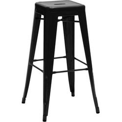 Tolix H Bar stool - H 75 cm - Glossy color. Black