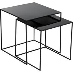 Bijzettafel Hoogglans Vierkant Zwart 2 st.