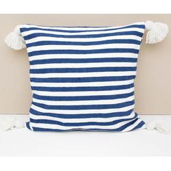 Pom pom kussen white/blue