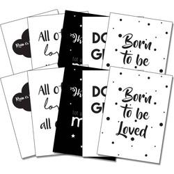 Zwart wit kaartenset - Interieurkaarten - 10 stuks - Tekst - Liefde