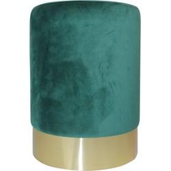 Fluwelen Poef-30x40cm-met goud metalen rand-Groen-Housevitamin
