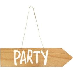 Houten bord met tekst Party