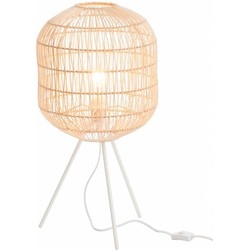Bamboo light - Tafellamp - cilinder - bamboe - naturel - driepikkel - metaal