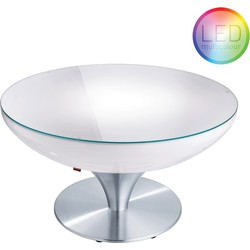 Moree - Ronde Salontafel Lounge - Hoogte 45 Cm LED Accu Outdoor - Wit