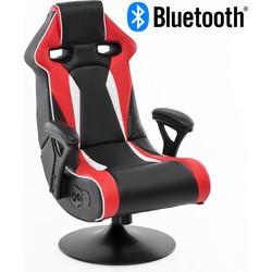 24Designs Silverstone - Racestoel Gamestoel Rocker - Bluetooth & Speakers - Zwart / Rood