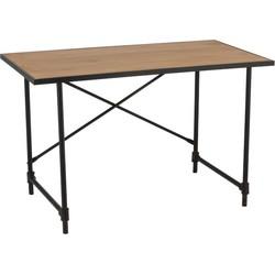 Industry - Bureau tafel - grijs buis metaal - houten MDF blad