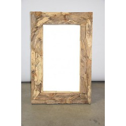 Teakhout 'root' spiegel 120x80