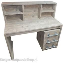 Steigerhouten Bureau Lotte met ladeblok Lotte