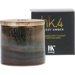 HK-living geurkaars in pot keramiek HK. 4 bosrijk amber 9,5x9,5x9cm