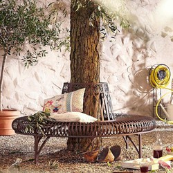 Home Affaire Gartenbank Baum halbrund Braun