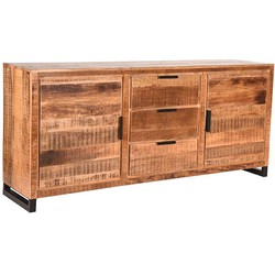 Sideboard Glasgow by LABEL51 has natural, rough mango wood surfaces that are combined with black metal legs and handles, giving it a sturdy and industrial look. The mango wood that is used in this Sideboard has a fascinating texture, with colours ran...
