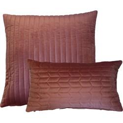 Kussen fluweel Roze 50x50 cm & Kussen fluweel roze 30x50 cm Set van 2