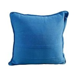 Cotton Rajput Ribbed Blue Prefilled Cushion