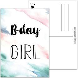 B-day Girl Verjaardagskaart ansichtkaart zwart wit - Marmer look - DesignClaud