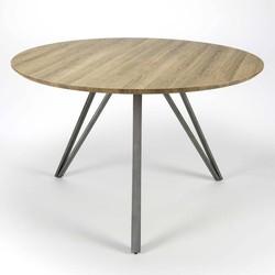 V- Eettafel - rond - Ø120cm - MDF - 3D eiken bruin - V-stalen poten