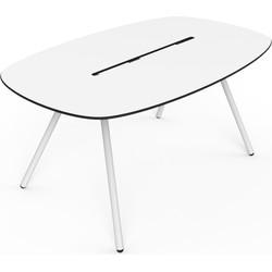 Lonc Tafel Longboard A-Lowha - L160 Cm - Wit HPL Tafelblad - Wit Onderstel