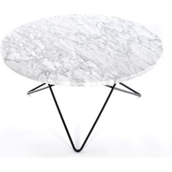 OxDenmarq Salontafel O - Zwart Staal Onderstel - Marmer Tafelblad - Wit