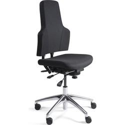 24Designs Bedrijfsstoel Laag Stof Alu - Verstelbare Zithoogte 47 - 60 Cm - Zwart
