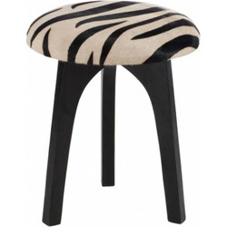 Zebra - Krukjes - set van 2 - rond - kunstleer - zebra deco - dia 36x47cm