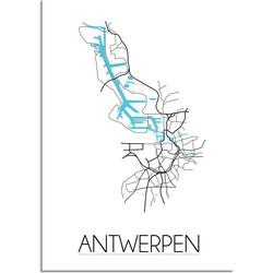 Antwerpen Plattegrond poster - A4 poster zonder fotolijst