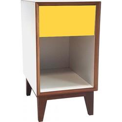 PIX nachtkastje groot met wit frame en geel voorkant