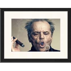 Jack Nicholson - Fotoprint in houten frame met passe partout - 30 X 40 X 2,5 cm