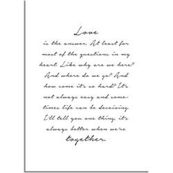 Love is the answer - Tekst poster - Wanddecoratie - Zwart wit poster - A2 + Fotolijst wit