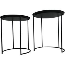 Set van 2 metalen bijzettafels - zwart - Housevitamin
