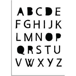 ABC Poster - Alfabet - Kinderkamer poster - Babykamer - Zwart wit - A4 poster