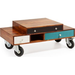 LaForma Bijzettafel Collin Multi-color hout op wielen La Forma