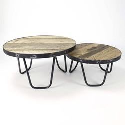 Recycled - Salontafels - set van 2 - rond - gerecycleerd hardhout - metalen rand - smeedijzeren poten