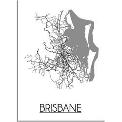 Brisbane Plattegrond poster - A4 poster zonder fotolijst