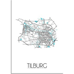 Tilburg Plattegrond poster - A4 + Fotolijst zwart