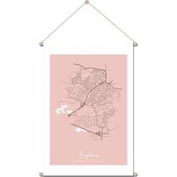 Geboorteposter Textielposter Plattegrond geboorteplaats - Roze - 45 x 60 cm