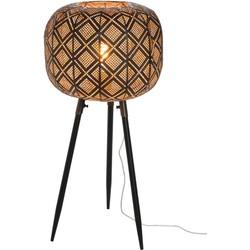 Oriental – Vloerlamp – oosters – bol – metaal – zwart – driepikkel