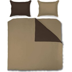 Nightsrest Dekbedovertrek Flanel TWO TONES Chocolate - Cappuccino Maat: 270x200/200cm