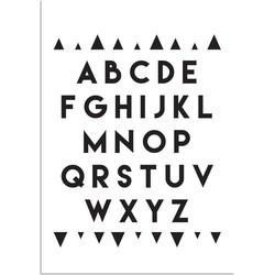 ABC Poster - Alfabet - Driehoeken -  Zwart wit - A4 + Fotolijst wit