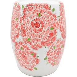 Fine Asianliving Fine Asianliving Witte Porseleinen Kruk Met Roze Bloemen