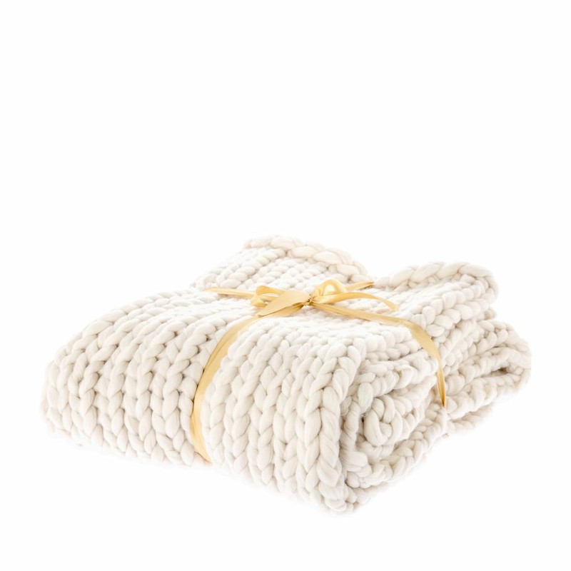 Plaid Knitted creme 125x150cm -
