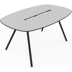 Lonc Tafel Longboard A-Lowha - L160 Cm - Grijs HPL Tafelblad - Zwart Onderstel