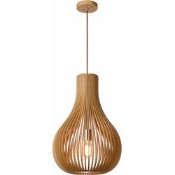 Lucide Verstelbare Hanglamp Bodo 1-Lichts Ø38 X H55 Cm - Hout Bruin