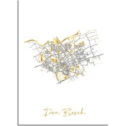 Den Bosch Plattegrond Stadskaart poster met goudfolie bedrukking - A2 + Fotolijst wit