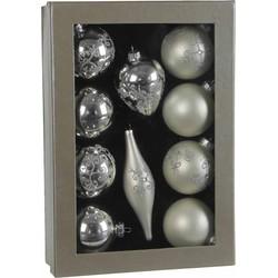 Christmas house assortiment van 10 glazen ornamenten zilver