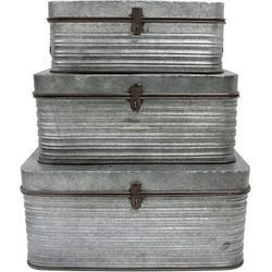 HK Living Opbergkist Set van 3 Metaal Zilver 22 x 48 x 33