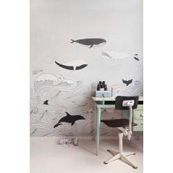 Walvis beige kinderbehang Studio Claas