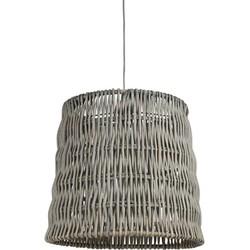 Hanglamp drum recht 48-40-40 cm ROTAN vertical weaving grijs