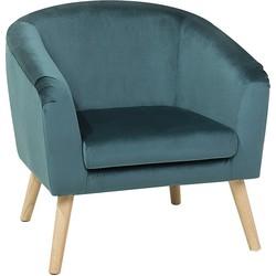 Fauteuil blauw fluweel NAPPA