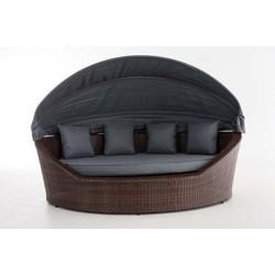24Designs Ovaal Lounge Ligbed Santorini - Bruin Vlechtwerk - Grijze Kussens